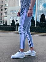 Спортивные штаны мужские зауженные демисезонные серые с лампасом Турция