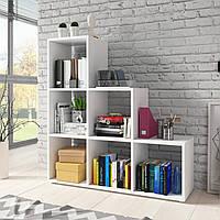 Стеллаж для дома, полка лесенка для книг и игрушек, разделитель комнаты на 6 ячеек G0039