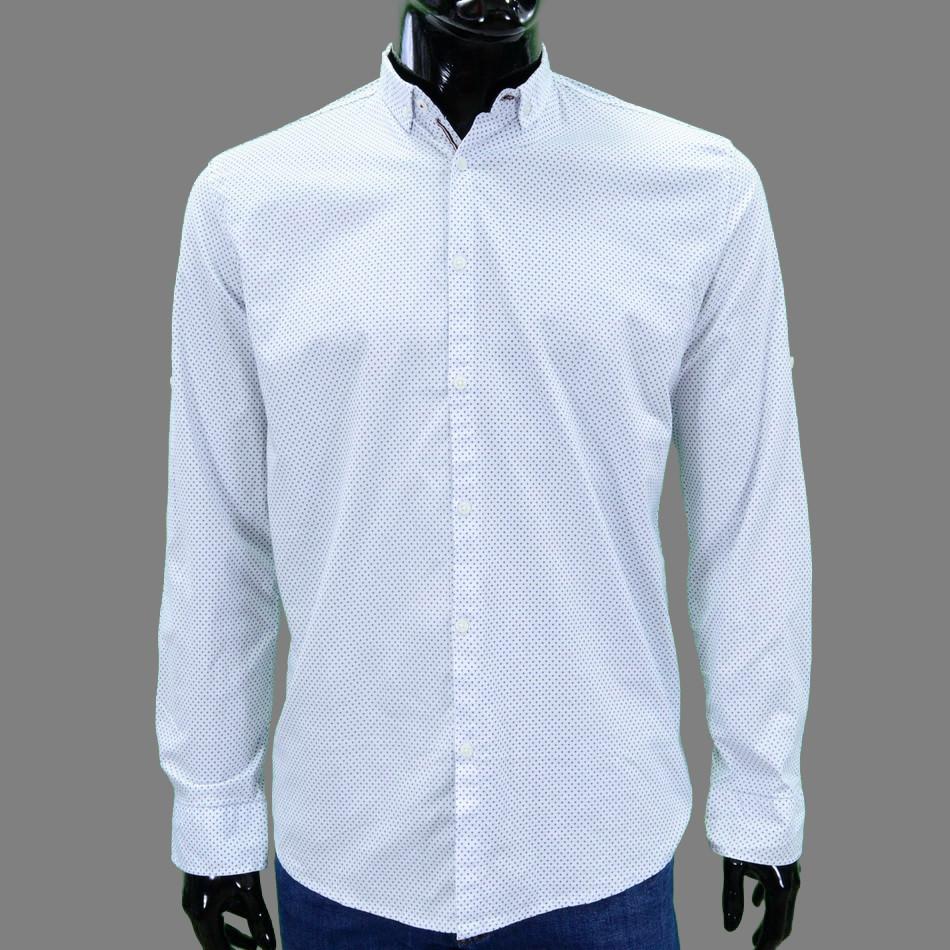 Сорочка чоловіча, приталена (Slim Fit), з довгим рукавом Bagarda BG6706 WHITE 93% бавовна 7% еластан M(Р)