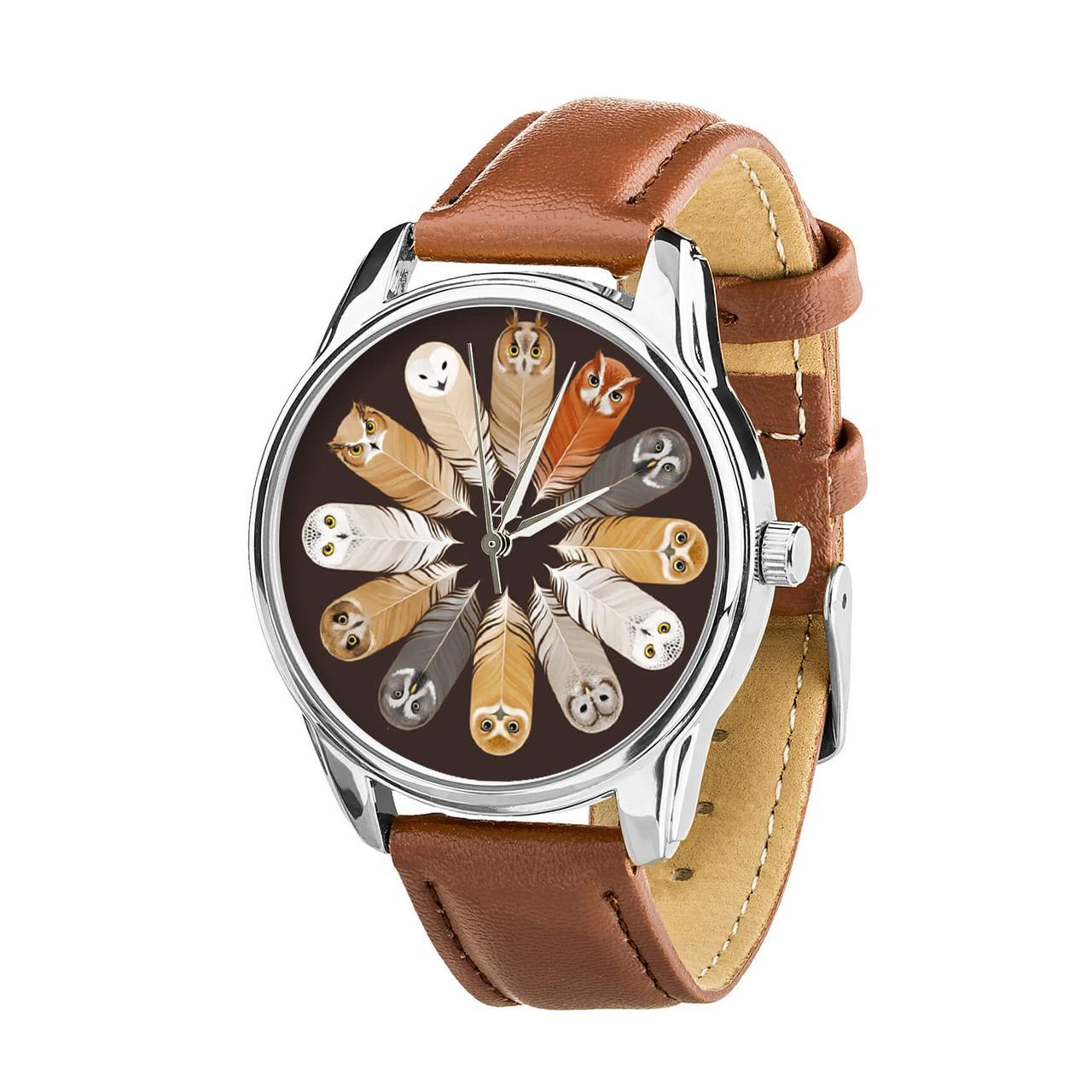 Часы ZIZ Совы (ремешок кофейно - шоколадный, серебро) + дополнительный ремешок