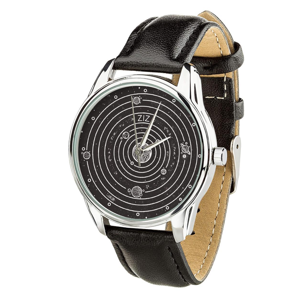 Годинник ZIZ Планети (ремінець насичено - чорний, срібло) + додатковий ремінець
