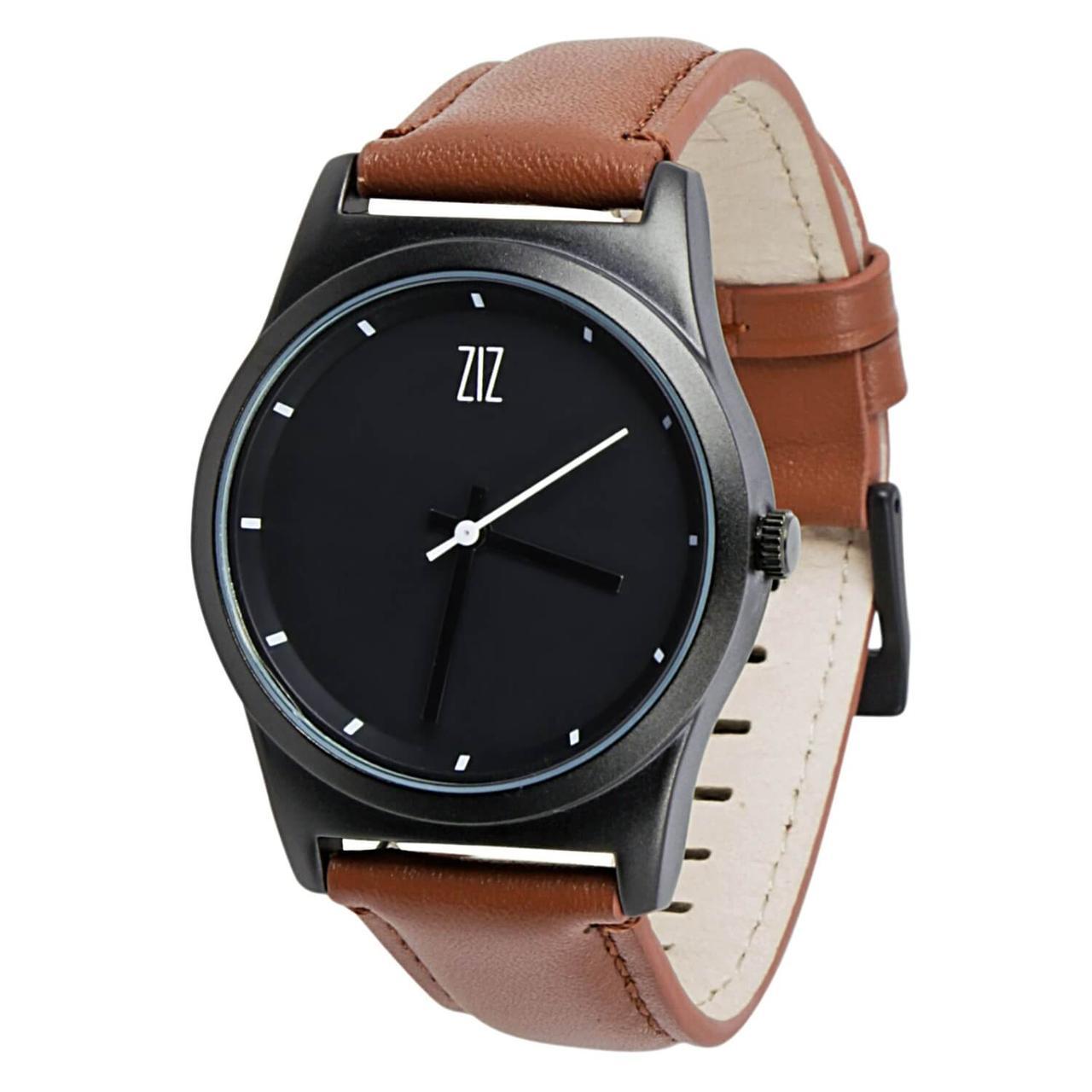 Часы ZIZ Black на кожаном ремешке + доп. ремешок + подарочная коробка (4100143)