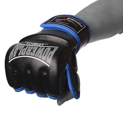 Рукавички для MMA PowerPlay 3058 Чорно-cині XL (PP_3058_XL_Black/Blue), фото 2