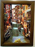 Пейзаж Венеция в деревянной рамке  П-741  40*60