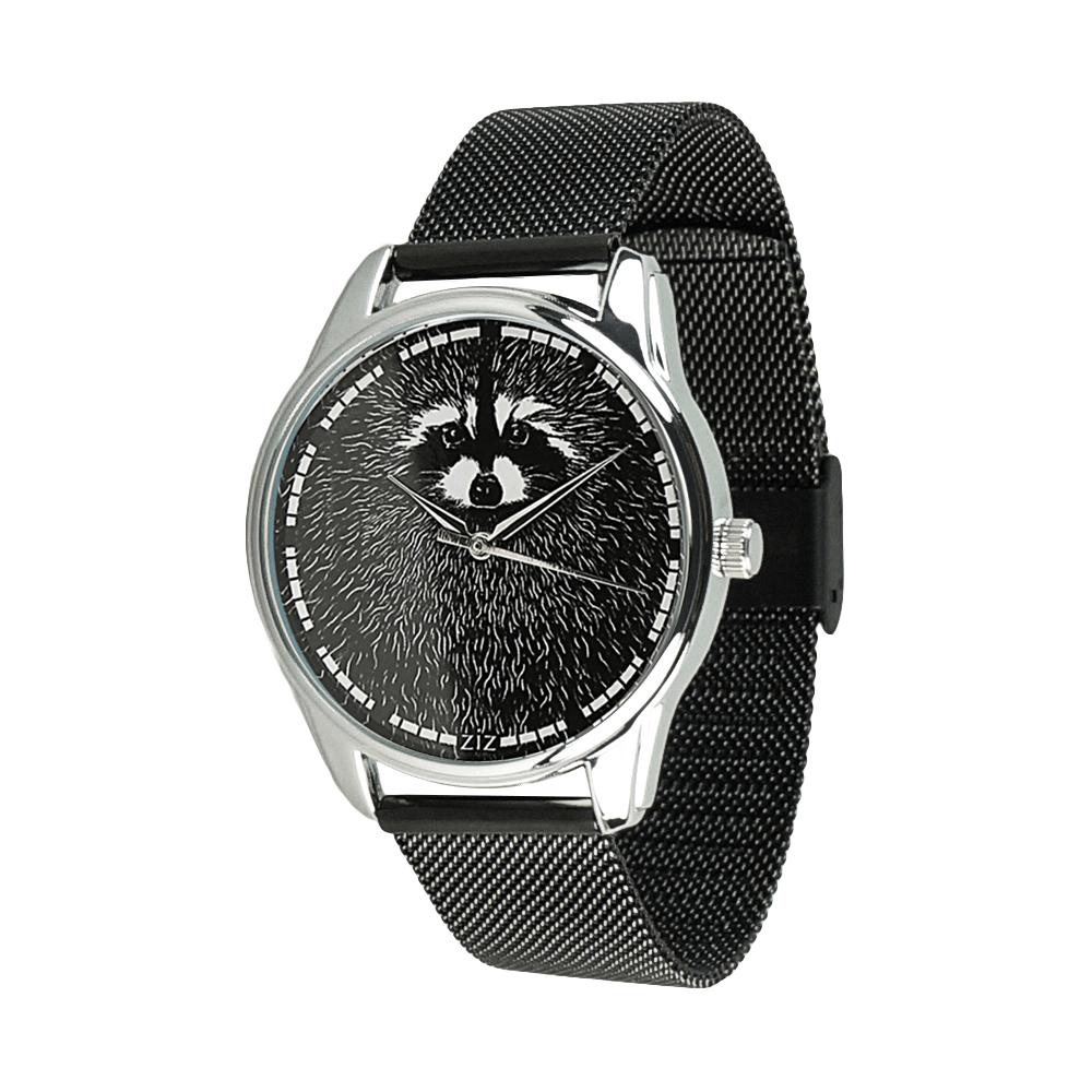 Часы ZIZ Енот (ремешок из нержавеющей стали черный) + дополнительный ремешок