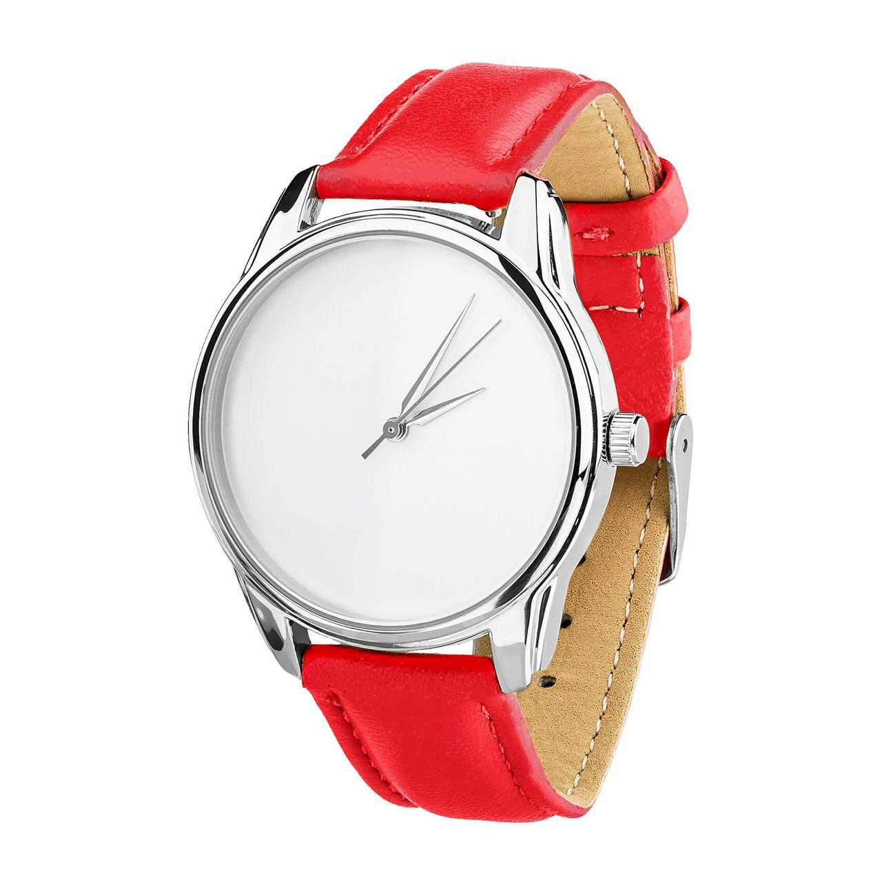 Годинник ZIZ Мінімалізм (ремінець маково - червоний, срібло) + додатковий ремінець