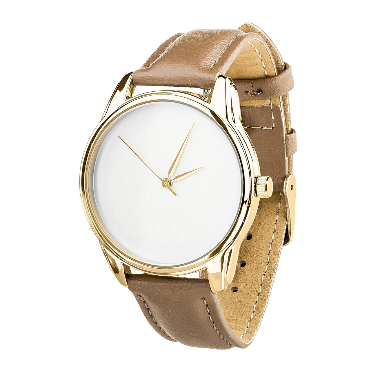 Часы ZIZ Минимализм (ремешок серо - коричневый, золото) + дополнительный ремешок