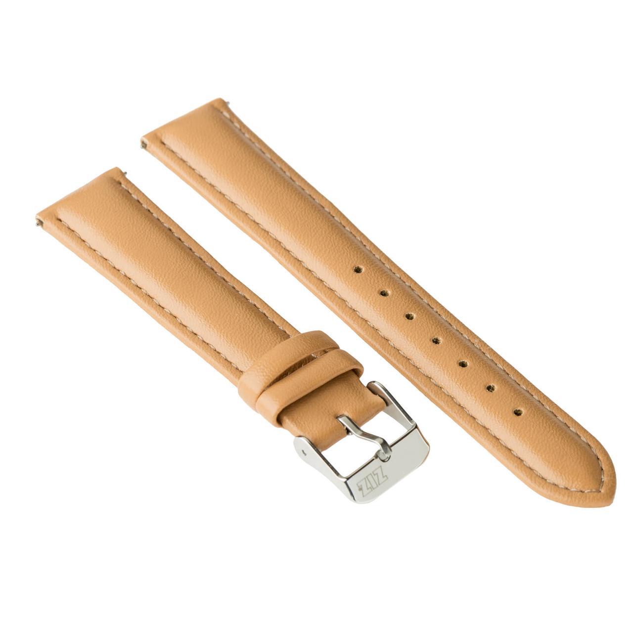 Ремешок для часов ZIZ (карамельно - коричневый, серебро)
