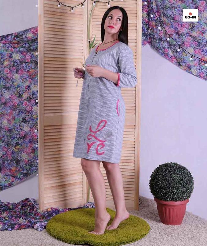 Жіночий теплий халат на блискавці короткий начос сірий, домашній халат р. 46-54