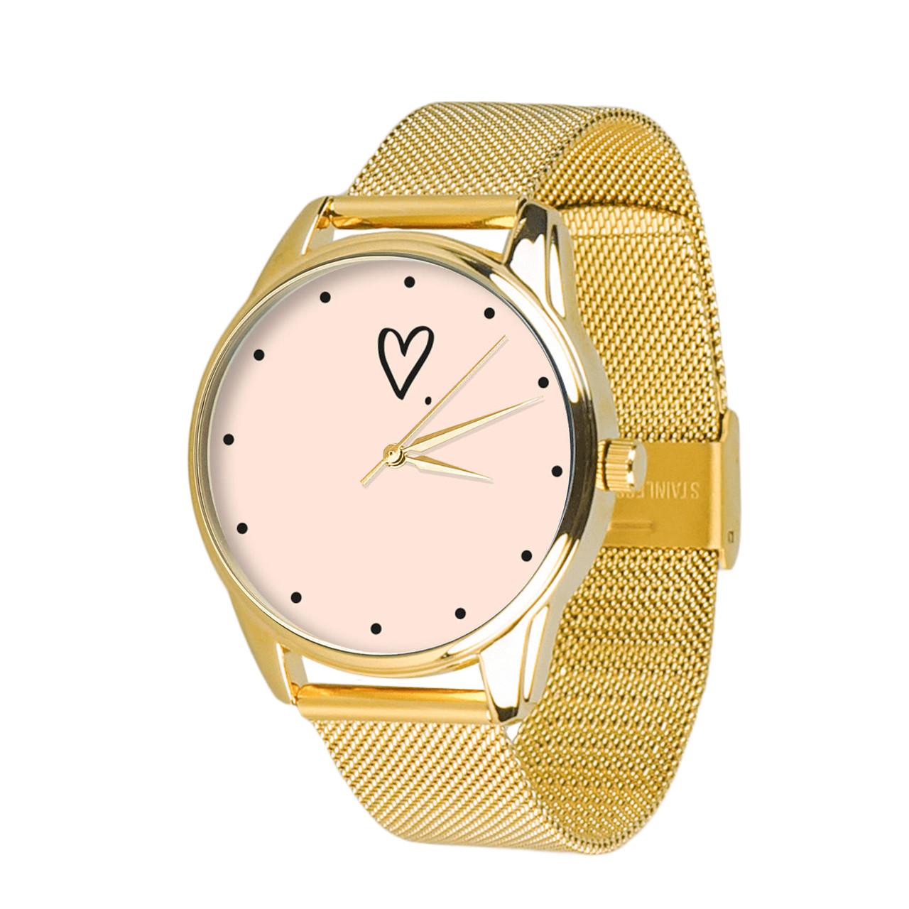 Годинник ZIZ Сердечко (ремінець з нержавіючої сталі золото) + додатковий ремінець