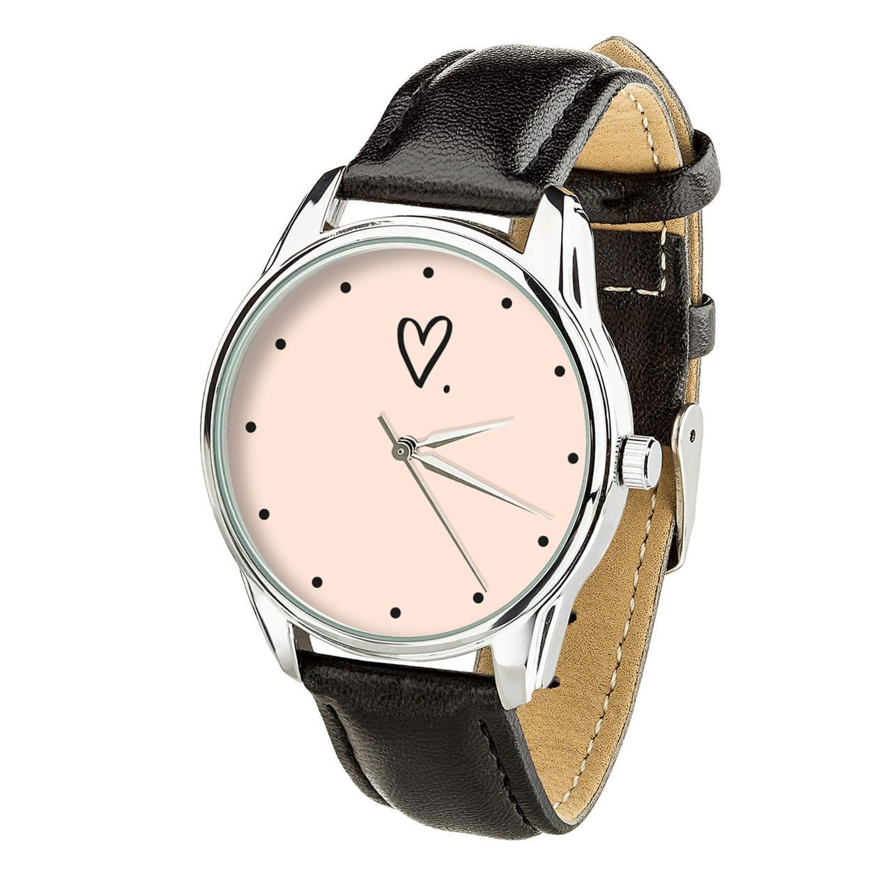 Часы ZIZ Сердечко (ремешок насыщенно - черный, серебро) + дополнительный ремешок