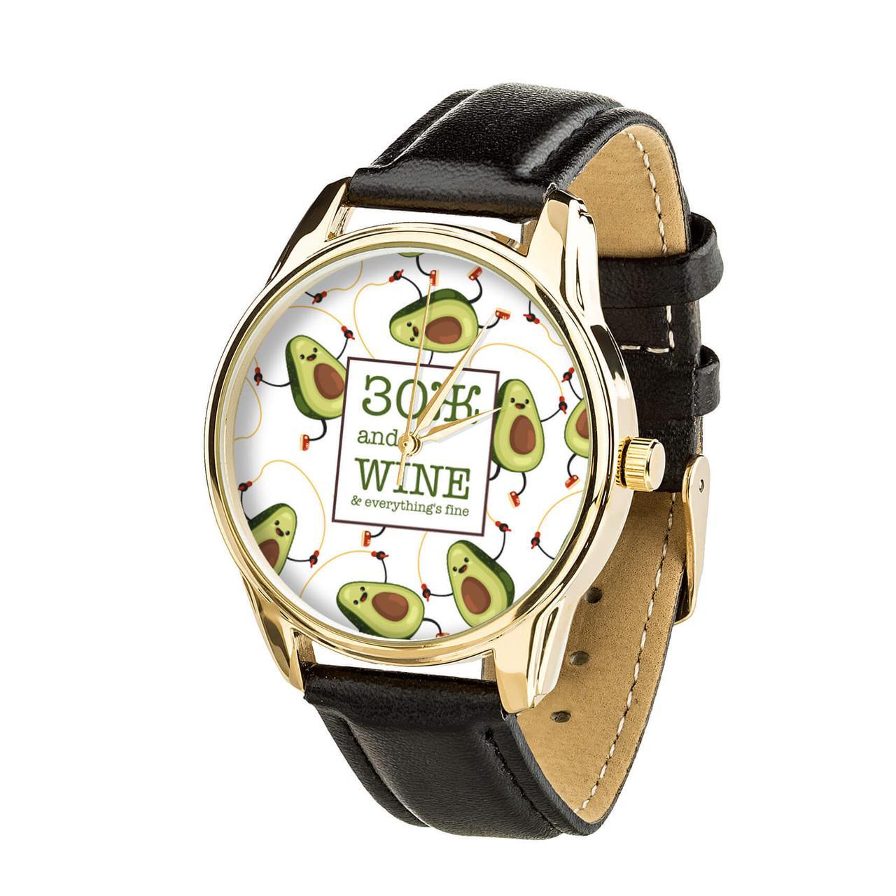 Часы ZIZ ЗОЖ (ремешок насыщенно - черный, золото) + дополнительный ремешок