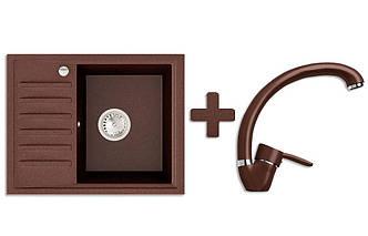 Кухонная мойка VALENTINA Gr Master коричневый + Кран