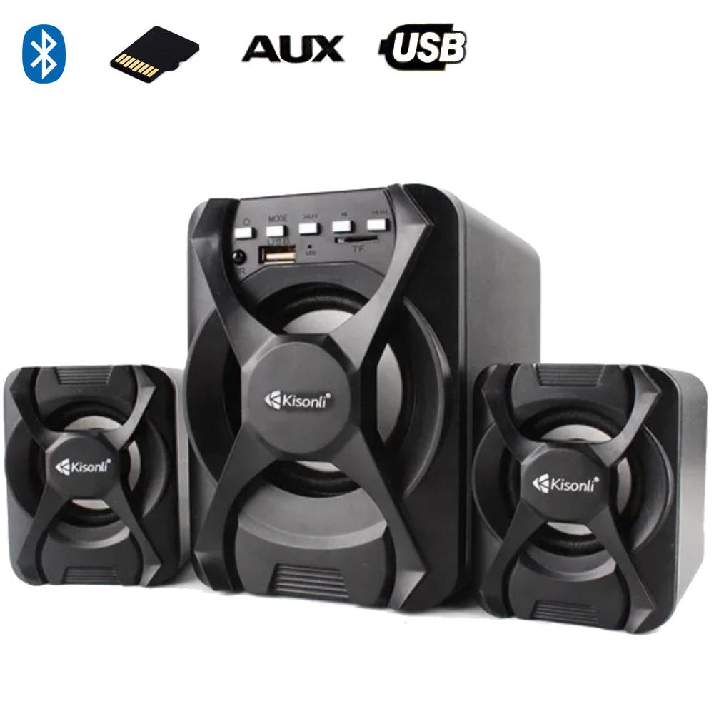 Компьютерные колонки Kisonli U-2500BT Desktop Speaker 2.1 c USB и microSD ридером