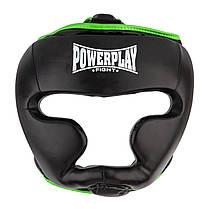Боксерський шолом тренувальний PowerPlay 3068 M Чорно-зелений (PP_3068_M_Black/Green), фото 2