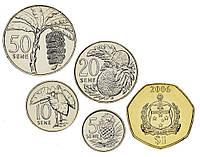 Самоа набор из 5 монет 2002-2010 UNC 5, 10, 20, 50 сене, 1 тала
