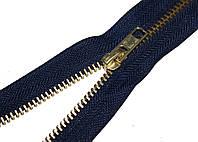 Застежка-молния джинсовая синяя GOLD 18 см. прижимная