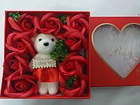 Букет из роз+игрушка 1107