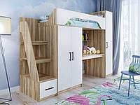 """Детская кровать-чердак с рабочей зоной, со шкафом """"Тея"""" Кровать чердак со столом для школьника 281*83*210"""