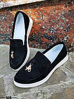 Стильні замшеві туфлі лофери 36-40 р чорний, фото 1