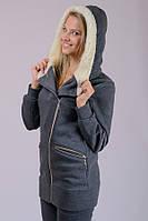Женская трикотажная теплая куртка (темно-серая)