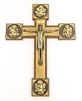Старый крест / распятие, дерево, латунь, Германия, фото 1