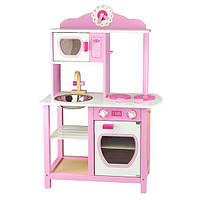 Детская кухня Viga Toys из дерева, бело-розовая (50111)