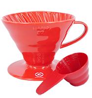 Пуровер Hario V60 01 красный  керамический для заваривания кофе на 1-2 чашки
