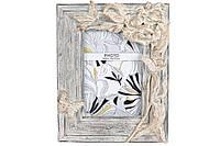 Рамка для фотографії прямокутна, 22.3 см, розмір фото - 10*15см, колір - зістарений білий з золотом