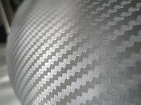 Карбоновая пленка 3D серебристый 100х152 см.