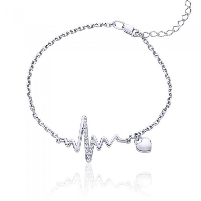 Срібний родированный браслет Стукіт серця 17-20 см 75183б