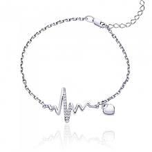 Серебряный родированный браслет Стук сердца 17-20 см 75183б