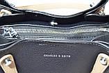 Сумка - тоут Чарльз и Кейт с двумя ручками женская черная, фото 6