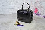 Сумка David Jones Paris кожаная черная с длинным ремешком квадрат женская, фото 2