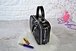 Сумка David Jones Paris кожаная черная с длинным ремешком квадрат женская, фото 3