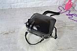 Сумка David Jones Paris кожаная черная с длинным ремешком квадрат женская, фото 6
