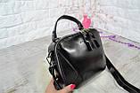 Сумка David Jones Paris кожаная черная с длинным ремешком квадрат женская, фото 7