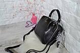 Сумка David Jones Paris кожаная черная с длинным ремешком квадрат женская, фото 9