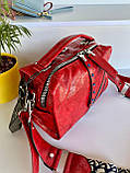 Женская сумка Valery с широким ремешком красная СВ96, фото 2