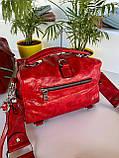 Женская сумка Valery с широким ремешком красная СВ96, фото 6