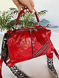 Женская сумка Valery с широким ремешком красная СВ96, фото 8