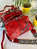 Женская сумка Valery с широким ремешком красная СВ96, фото 9