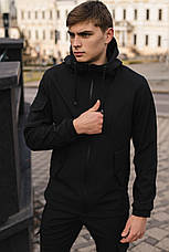 Мужской костюм черный демисезонный Softshell Intruder. Куртка мужская, штаны утепленные, фото 2