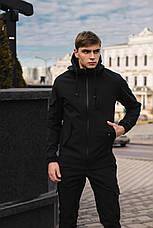 Мужской костюм черный демисезонный Softshell Intruder. Куртка мужская, штаны утепленные, фото 3
