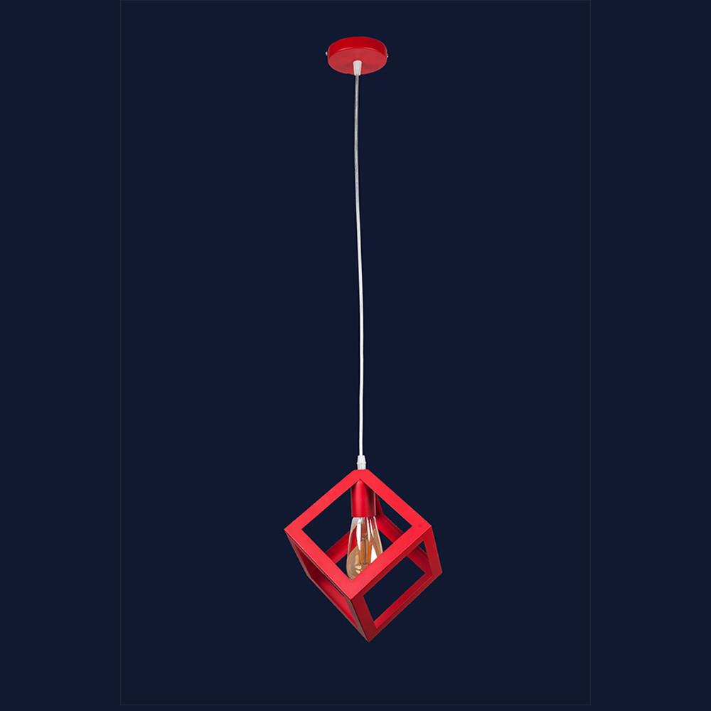 Висячий светильник металлический в стиле лофт на один патрон цвет красный Levistella&756PR160-1 RD