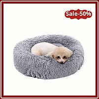 Подушка лежак (Лежанка) для домашних животных 40 см. Цвет - светло серый. Спальное место для собак и кошек