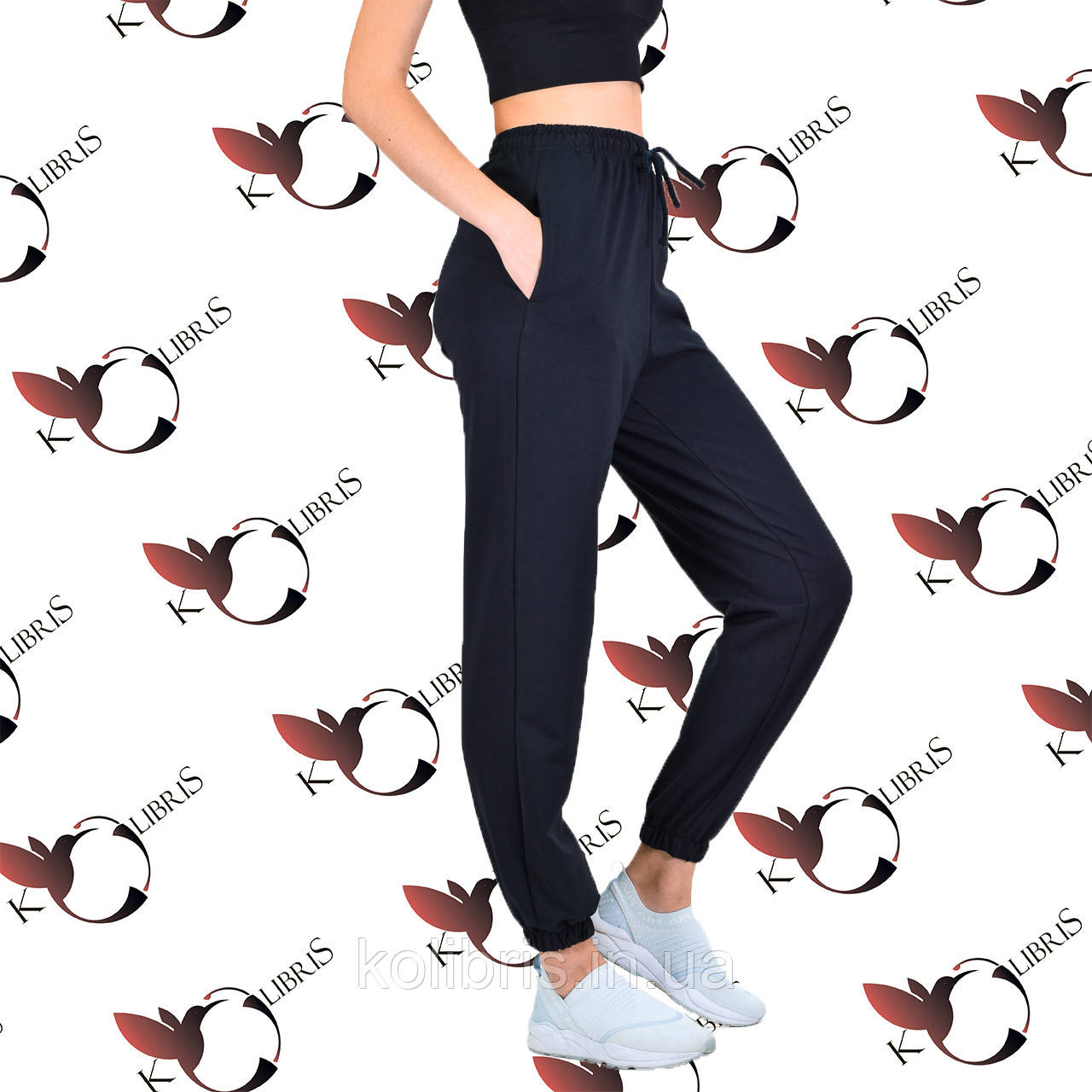 Женские объемные спортивные штанишки трикотаж темно-синего цвета
