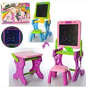 Мольберт YM881-882 - столик с LED планшетом и стульчиком 2в1