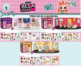 Игровой набор кукла + мебель для домика BELA DOLLS BL1164/65/66 (36шт) в каждом наборе-2 варианта мебели,