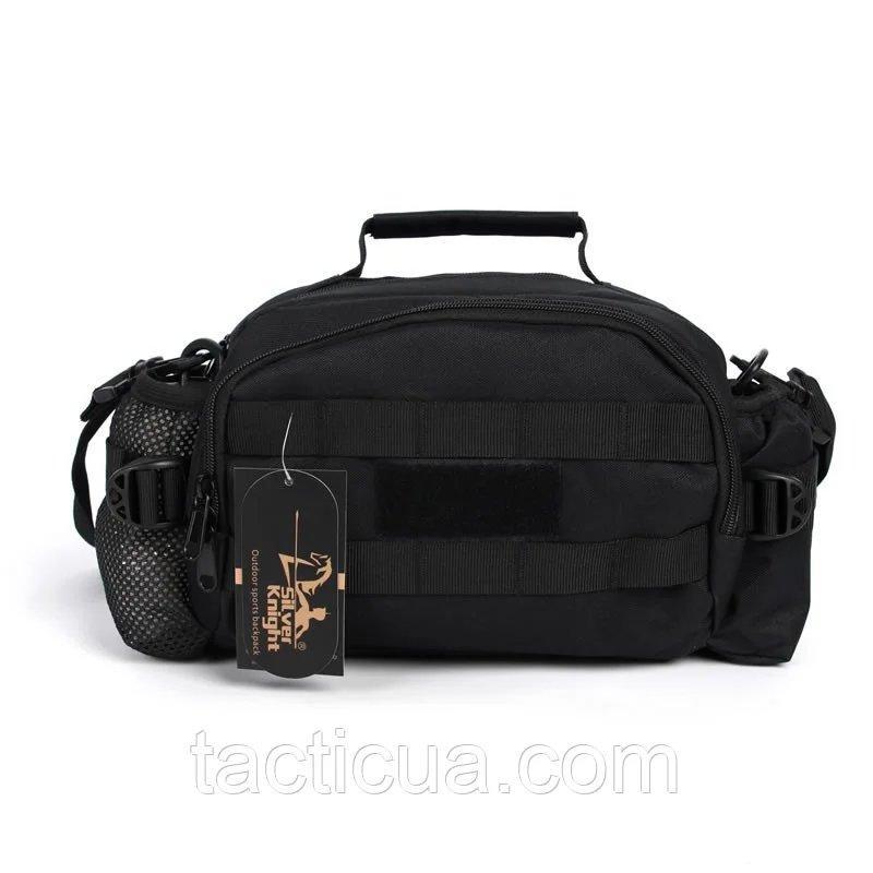 Тактическая универсальная (поясная, наплечная) сумка Silver Knight с системой M.O.L.L.E Black (9100-black)